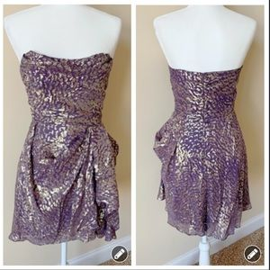 Shoshanna purple foil printed strapless dress #529